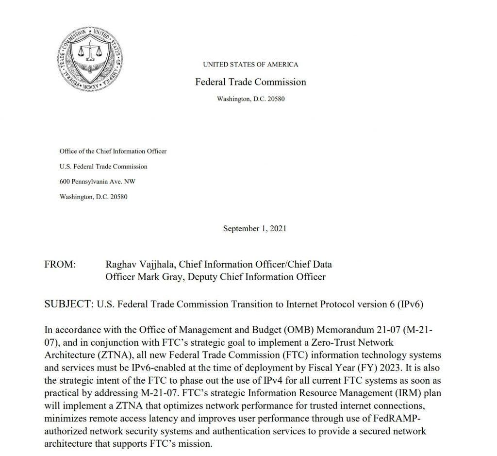 美国联邦贸易委员会向互联网协议版本6(IPv6)过渡